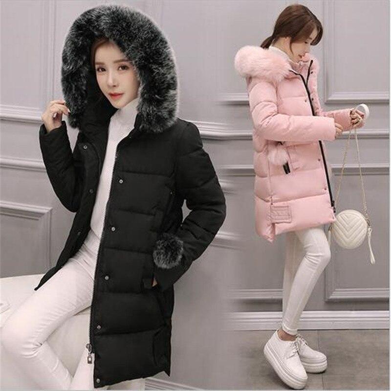 2016 New Winter Women Coat Thicken Warm Hooded Hooded Fur collar Cotton Down Jacket Coat Loose