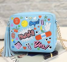 high quality Cute cartoon graffiti fringed shoulder messenger bag, satchel fashion catwalk models,women new crossbody sling bag
