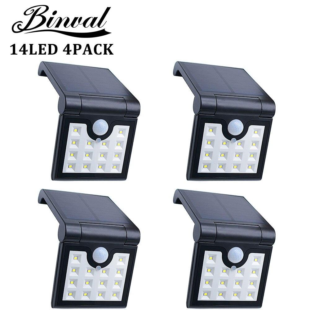 Solar Lamp 14 LEDs Solar Light Outdoor Motion Sensor Garden Security Portable Lights 4 Pieces Garden