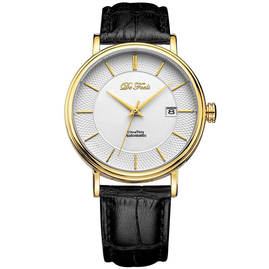 드 느낌 movt miyota 9015 남자 자동 기계식 시계 브랜드 럭셔리 사파이어 유리 및 가죽 스트랩 relogio masculino-에서기계식 시계부터 시계 의  그룹 1