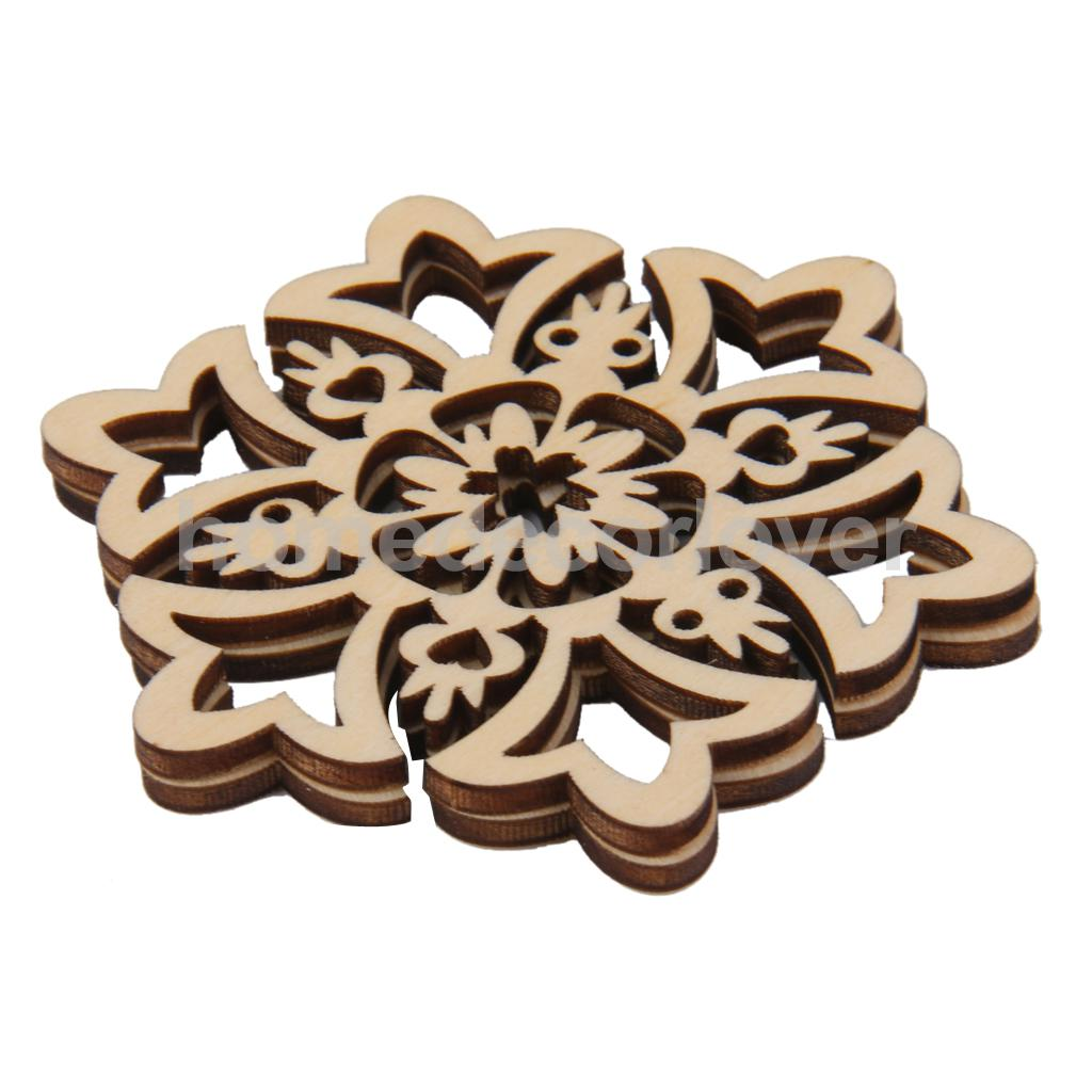 Unfinished wood craft pieces - Lot Of 10 Unfinished Wood Craft Cut Outs Snowflake