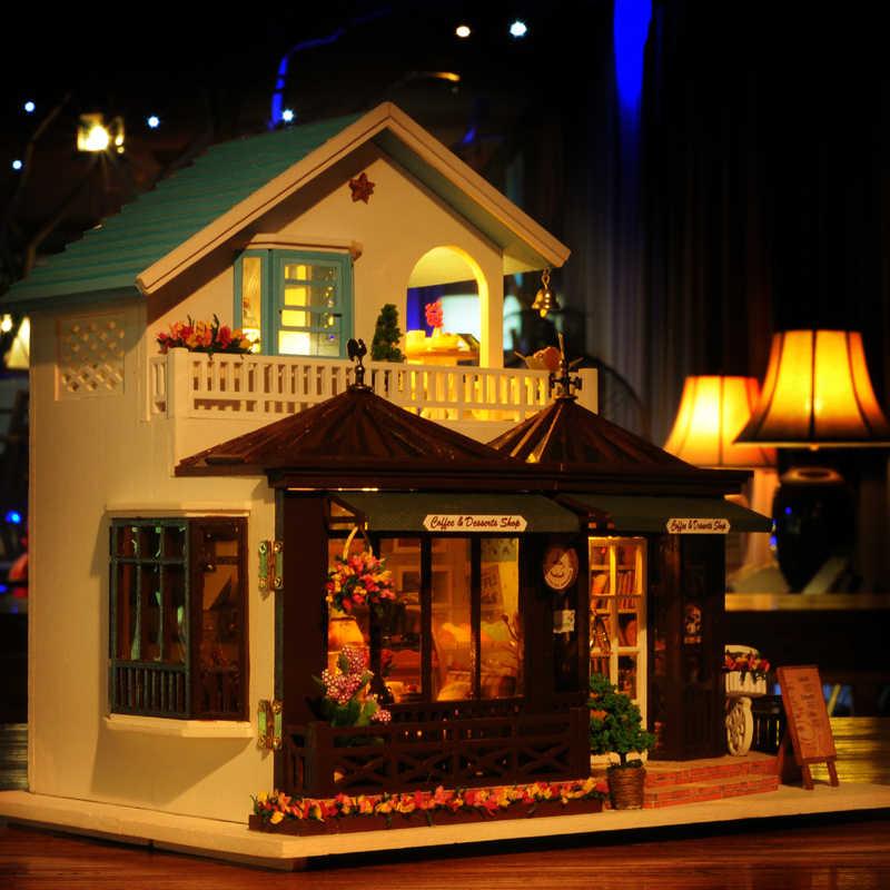 Деревянный дом время резьбы игрушки для детей подарок на день рождения кукольный дом Миниатюрный DIY кукольный домик с мебели детские подарки