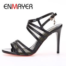 ENMAYER  Genuine Leather Basic Party Women Sandals Summer 2019 High Heel Buckle Strap Solid Size 34-39 LY1421