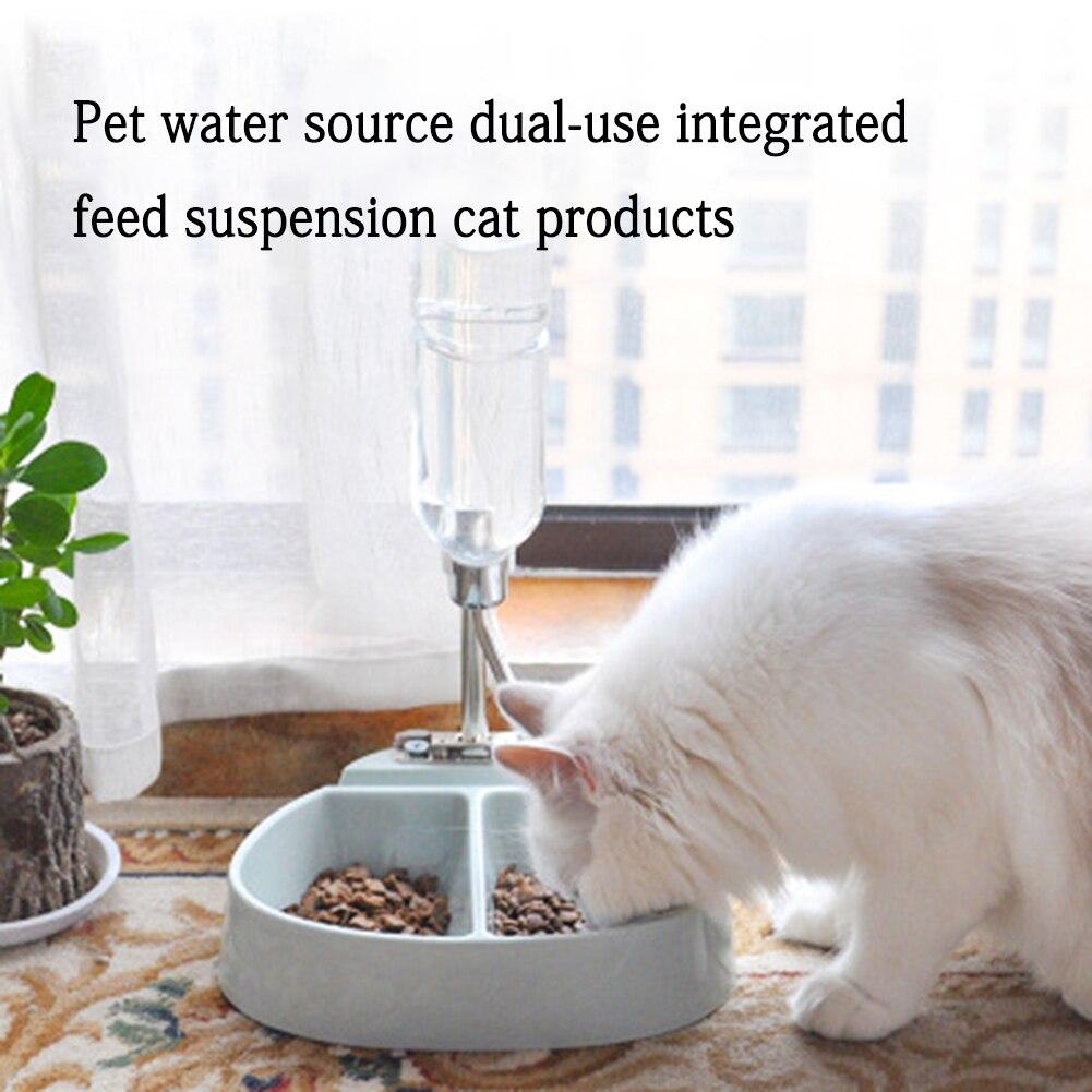 Двойные миски для домашних животных с бутылкой для воды, интегрированная Подвеска для корма, контейнер для воды для кошек и собак