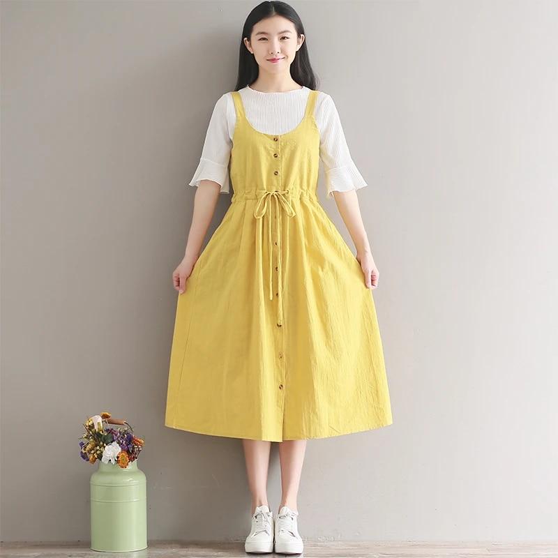 Japanese yellow flower cotton sundress