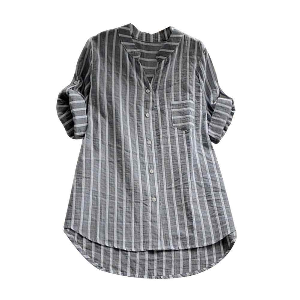 613ac332a8 2018 Plus Size Casual Womens Loose Three Quater Sleeve Summer Striped V  Neck Blouse Baggy Tops