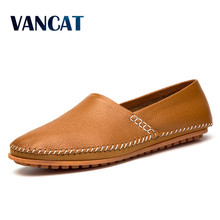 VANCAT Mens Shoes Big Size 39-47 Genuine Leather Manual Sewing Men Loafers Driving Moccasins Slip on Leather Casual Shoes Men