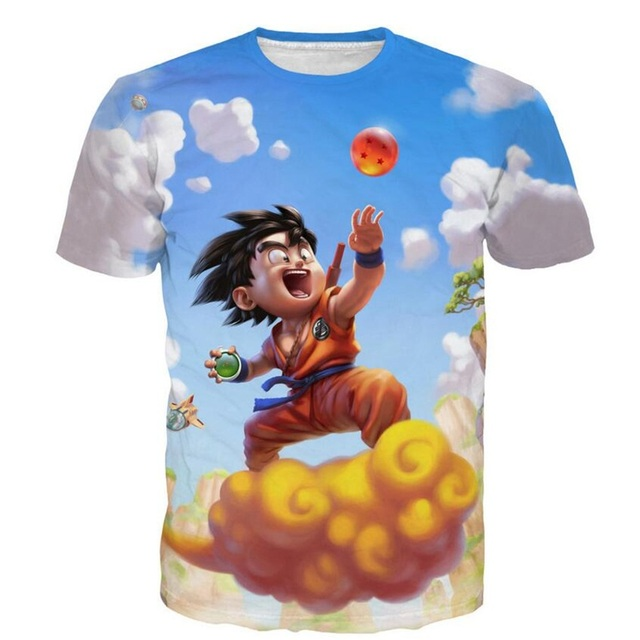 cf83fceb Men Women Short sleeve Tees Vintage Anime Dragon Ball Z Lovely Kid Goku 3D  print t shirt Male Casual Tee Shirts Clothing R2307