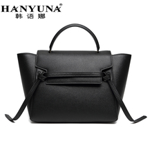HANYUNA BRAND New Fashion Cow hide Leather Women Bags Belt Knot Bags Large Capacity Totes Genuine