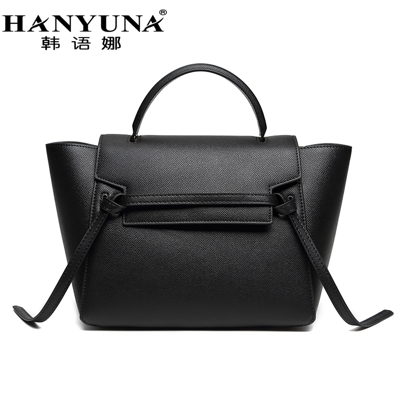 HANYUNA BRAND New Fashion Cowhide Catfish Women Bags Belt Knot Bags Large Capacity Totes Genuine font