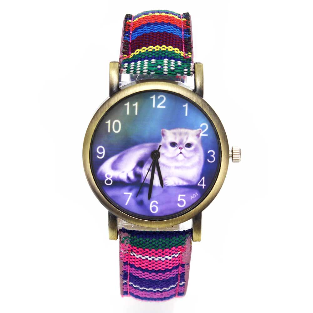 Cute Lucky Cat Pet Kitty Cheshire Cats Animal Quartz Watches Casual Women Ladies Girl Fashion Denim Stripes Wristwatch Watch christmas gifts cat toys cute short hair pet shop collections white pink yellow tabby black orange super hero kitty animal