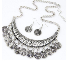 The Lowest Price 2015 Fashion Collier Femme Silver Coins Bohemian Pendant Colar Statement Necklaces and Earrings Jewelry XY-N109