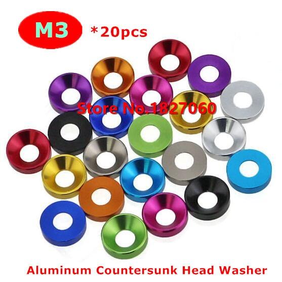 20PCS Aluminum Alloy M2.5 M3 Anodized Round Head Socket Cap Bolt Washers Gasket