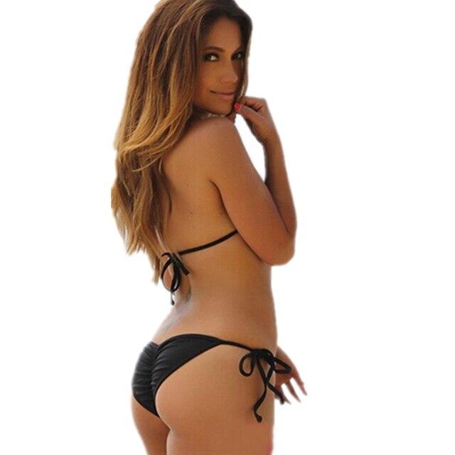 Solid Brown Modern Fit Strappy Butt Bottom Scrunch Bandage Bikini Set/swimsuit Micro Mini Brazilian Thong Swimwear Wholesale 1