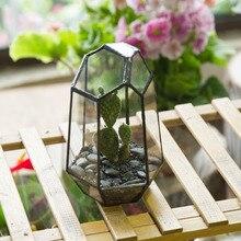15cm Tabletop Irregular Glass Geometric Terrarium Box Succulent Plant Planter Flower Pot Decoration Container Vase Great
