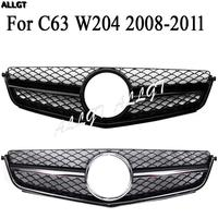 Front Gill Upper Bumper Grille Hood Fit For Mercedes Benz C Class C63 W204 2008 2009 2010 2011 AMG Black Silver