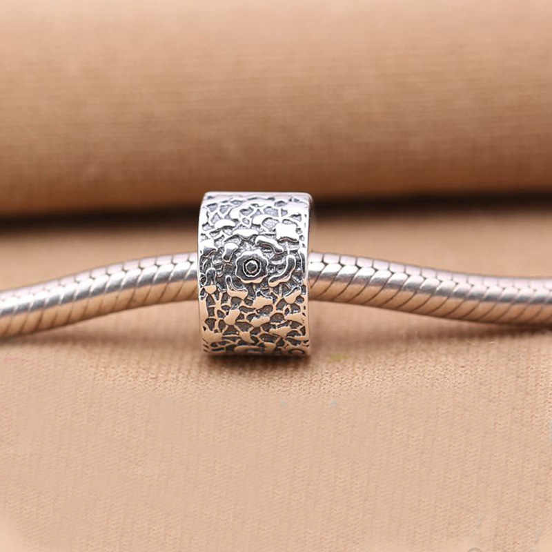 Layers of Lace Beads Fit  bracelets 925 Sterling Silver Lock Clip Stopper Charm Beads with Flower Pattern women Jewelry