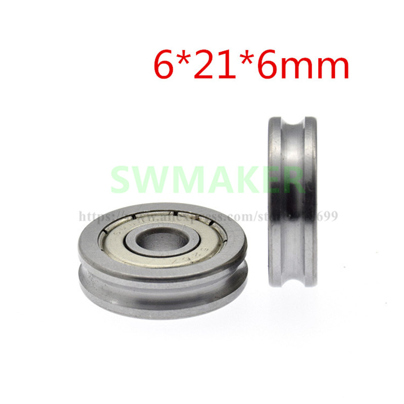 10pcs 6*21*6mm 626 Bearings, U Grooved Roller With Groove, Conductor Groove Wheel, 3 Mm Diameter Track Wheel