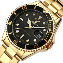 5b996a1e706 DEERFUN Relógio De Ouro Dos Homens de aço Inoxidável Vidro de Safira GMT  Bezel Rotativo Banda Esporte Quartz relógio de Pulso re.
