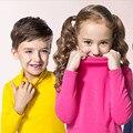 Осень Зима Turleneck Свитер Детей 10 Сплошных Цветов Девушки Свитер Мальчики Пуловеры Рубашка Ребенок Кардиганы для девочек 2-10 Т