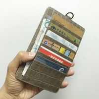 Genuine Leather Card Holder Strap Pouch Phone Bag Case For iPhone X XS Max XR 6 6S 7 8 Plus Luxury Crocodile Wallet Cover Gray