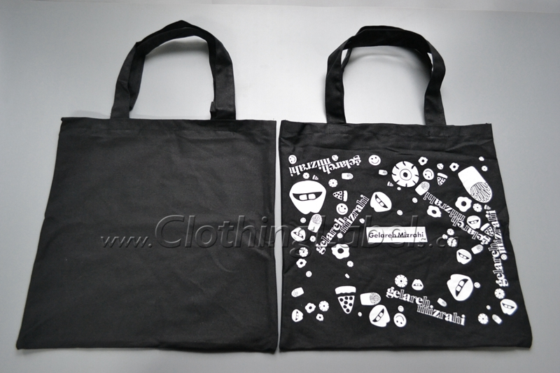 Custom shopping cotton bag, black cotton bag with white printing, please check the shipping cost with us when place the order. image
