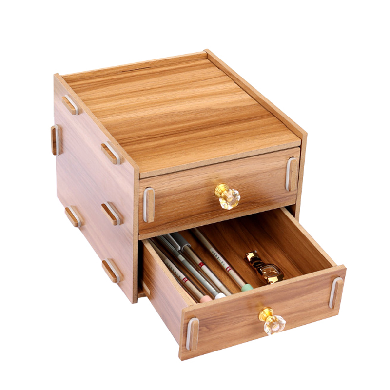 Wood Stationery Holders With Drawer Storage Box Desktop Stationery Office And School Supplies Multifuction Desk Organizer