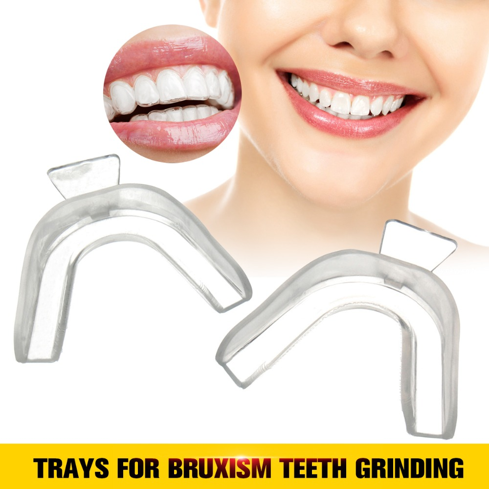 2pcs Mouth Guard Stop Teeth Grinding Anti Snoring Bruxism Transparent Guard Gum Shield Mouth Trays For Bruxism Teeth Grinding