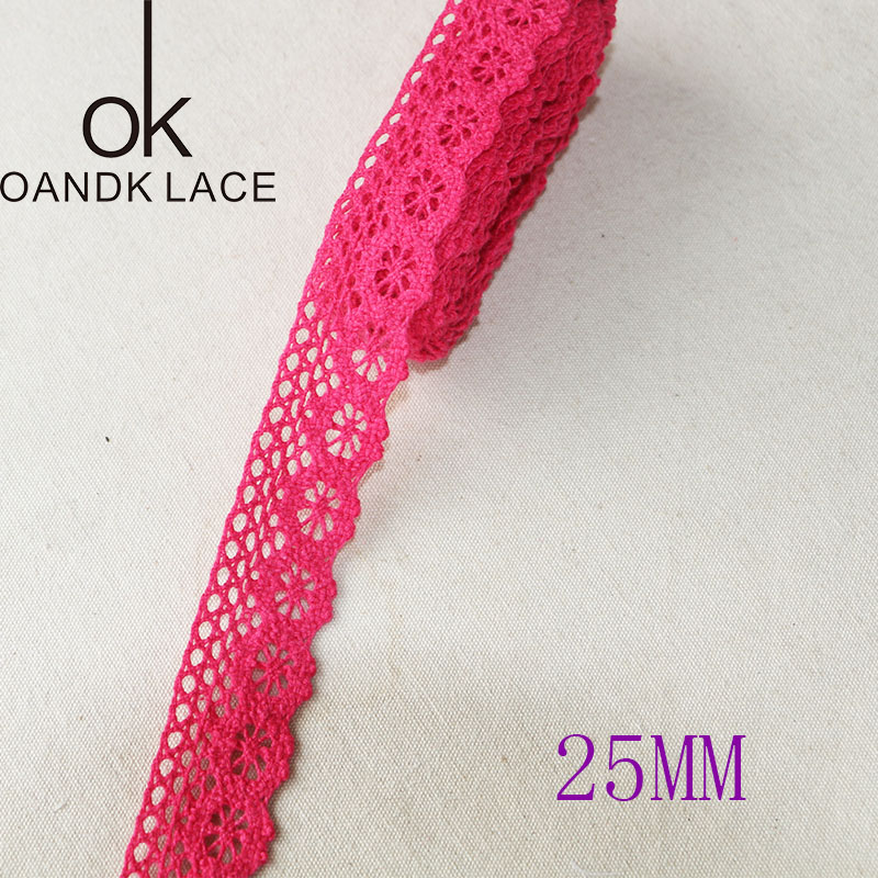5 yard25MM Cotton lace fabric for home decoration Garment accessories Home textile materials DIY manual dentelleRose and Pink