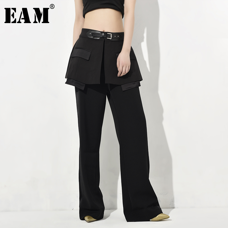 [EAM] 2020 New Autumn Winter High Waist Black Split Joint Personality Long Wide Leg Loose Pants Women Trousers Fashion JQ7810