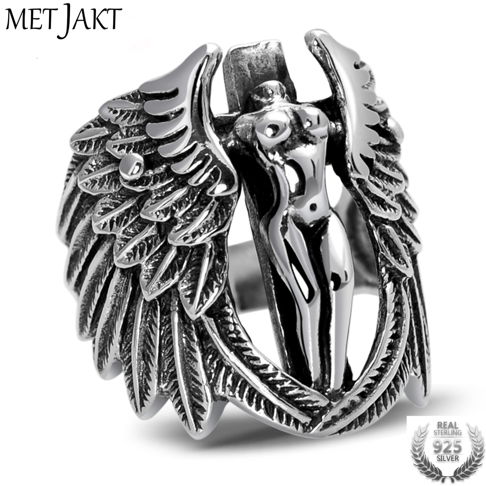 MetJakt Vintage Holy Headless Guardian Angel Ring Solid 925 Sterling Silver Ring for Men Punk Rock Thai Silver Jewelry rock angel pубашка