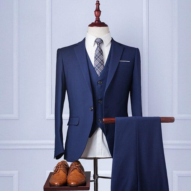 2017 Men Blue Buisness Suit  Slim Fit Tuxedo Formal Dress Suits Blazer Party Wedding Suits 3 Piece Suit (Jacket+Pant+Tie)