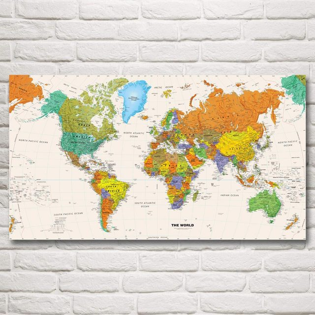 Modern Us Map.World Map European American Modern Art Silk Poster Prints 11x20