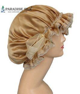 Silk Sleeping Cap One 100% Real Silk Slumber Sleeping Cap Hat W/ Lace One Size