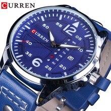 CURREN Blue Genuine Leather Luminous Hands Complete Calendar Waterproof Men Military Quartz Casual Sport Wrist Watch Male Clock