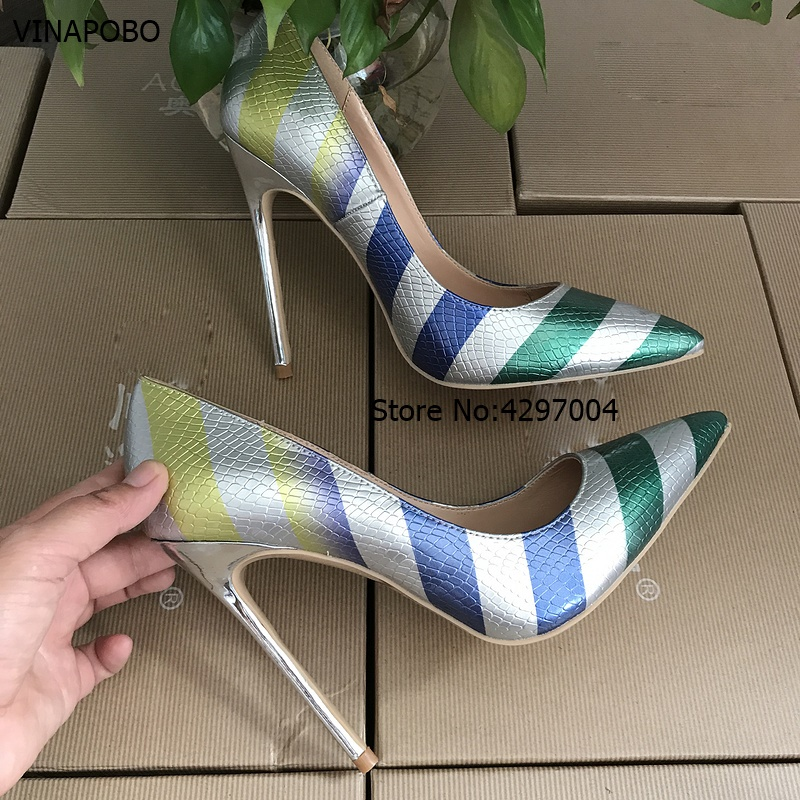 2018 women high heels snake skin print leather pumps Stilettos heel party shoes gradient Striped pumps
