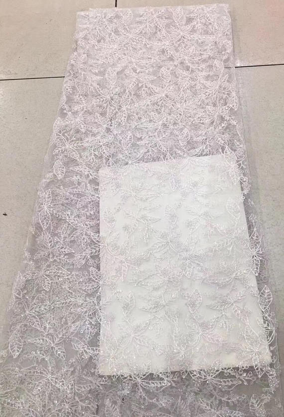 5 ярдов белая кружевная ткань из бисера, свадебная кружевная ткань с бисером и блестками, тяжелая кружевная ткань из бисера, кружевная ткань из тюля с бисером