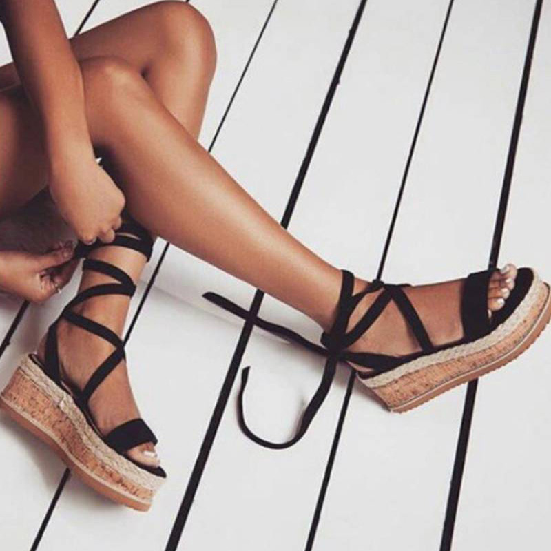 4270da07a01 US $10.62 45% OFF|Summer White Wedge Espadrilles Shoes Woman Sandals Open  Toe Rome Gladiator Platform Sandals 2019 Ladies Lace Up Zapatos De Mujer-in  ...