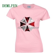 Divertido paraguas imprimir camiseta moda mujeres camisas de algodón manga  corta o-cuello camiseta camisetas 436be47fb97