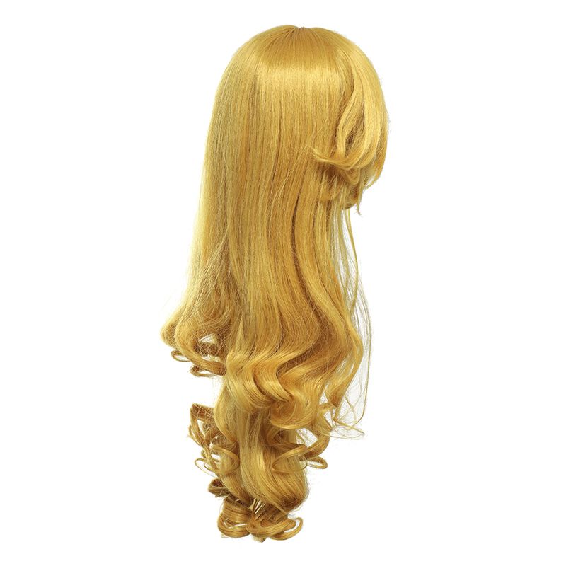 Girls Fairy Tale Princess Synthetic Wavy Wig Children Elsa Belle Rapunzel Moana Aurora Anna Mermaid Party Braid Cosplay Hair Wig long wavy oblique bang synthetic cosplay wig