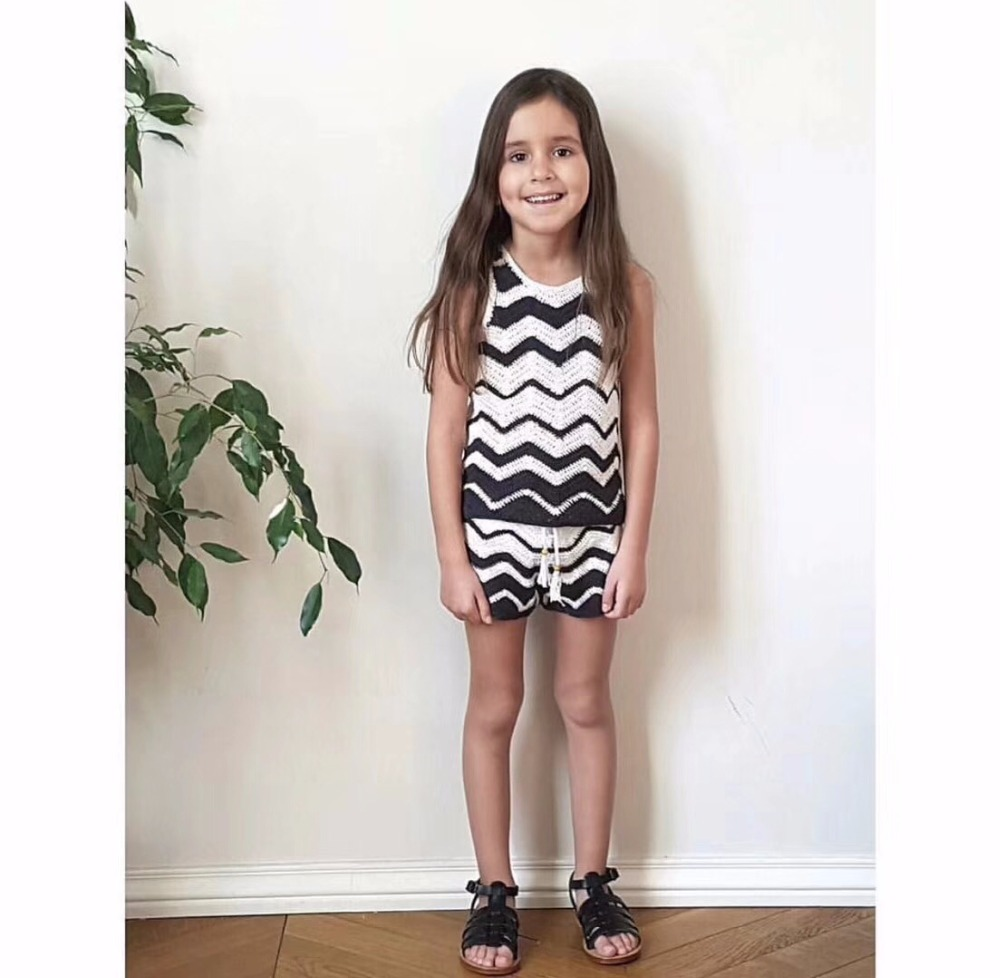 Kids summer dress candy colour striped handmade baby girls dress curved hem striped tee dress
