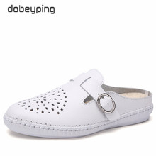 dobeyping New Cut-Outs Summer Woman Shoes Genuine Leather Women Flats Hollow Womens Loafers Fashion Buckle Female Shoe