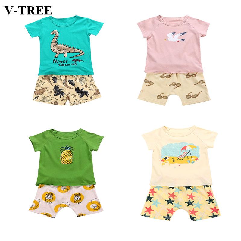 Cartoon Boys Clothes Sets 1-8T Children T-shirt+shorts 2pcs Clothing Set Kids Tracksuit Baby Sports Suits Summer Brand Set