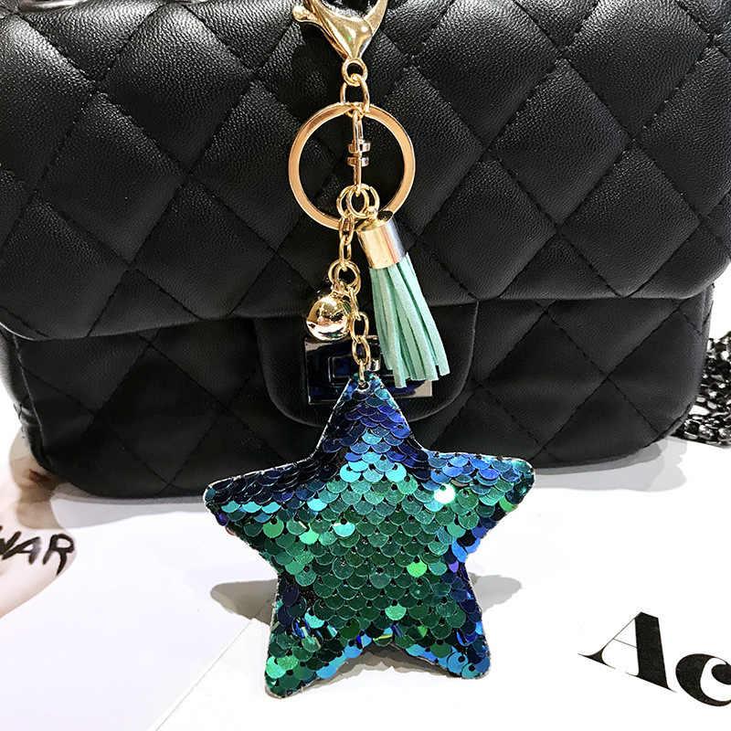 Estrela Borla Chaveiro Pompom Glitter Lantejoulas Presentes Chaveiro para As Mulheres Llaveros Mujer Bolsa de Acessórios Do Carro Chaveiro Chave Anel