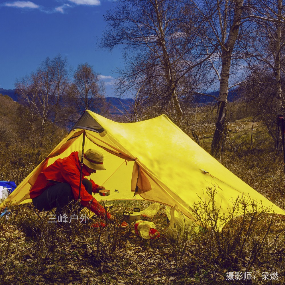 3F UL GEAR 2 Person Camping Tent Non Pole 2 Man Ultralight UL Tent Outdoor Camp Equipment LanShan2 high quality outdoor 2 person camping tent double layer aluminum rod ultralight tent with snow skirt oneroad windsnow 2 plus
