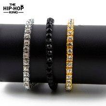 Iced Out 1 Row Rhinestones Bracelet Men's Hip Hop Style Clear Rhinestone 8″ Bracelet Bling Bling Jewelry