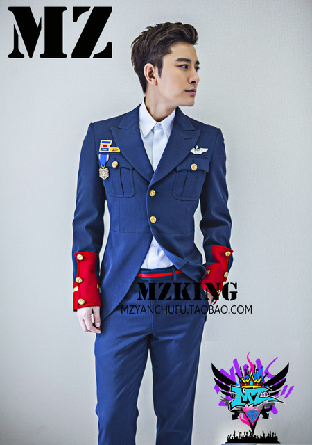 e0a98e670b9 2019 Men new DJ male singer deep red wool navy suits stage costumes  clothing formal dress