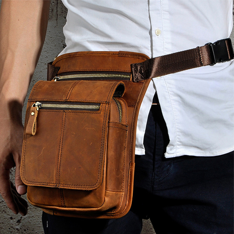 Crazy Horse Cowhide Men Waist Pack Crossbody Shoulder Bags Rider Travel Genuine Leather Purse Male Hip