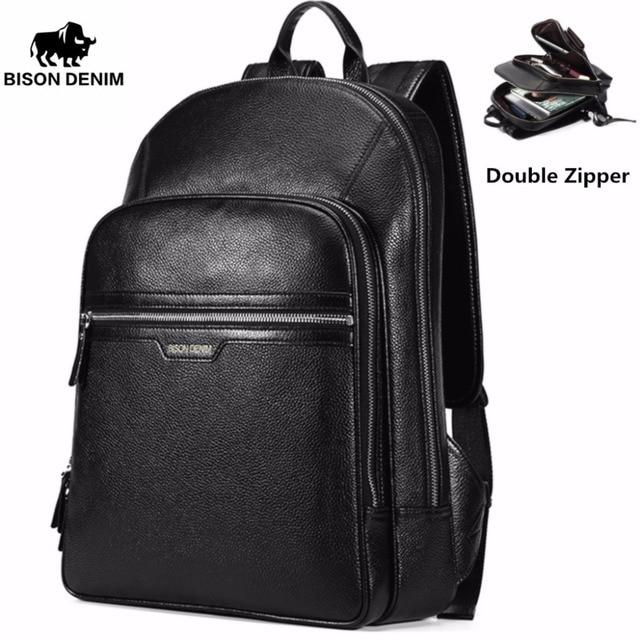 BISON DENIM 2017 Genuine Leather Backpack School Laptop Backpack ...