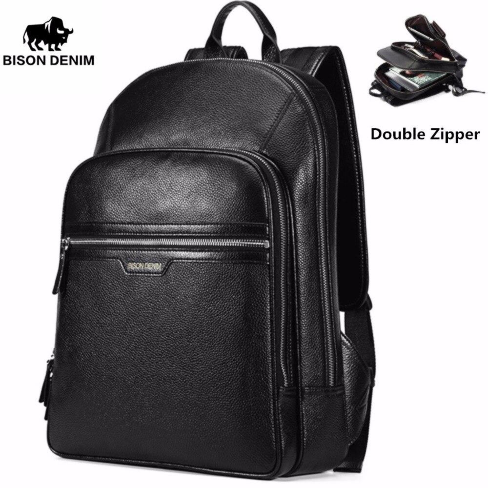 BISON DENIM Genuine Leather Laptop Backpack Male Kanken Backpack Travel Backpack Male Fashion Backpack Schoolbag For Men N2337 male classic microfiber leather backpack